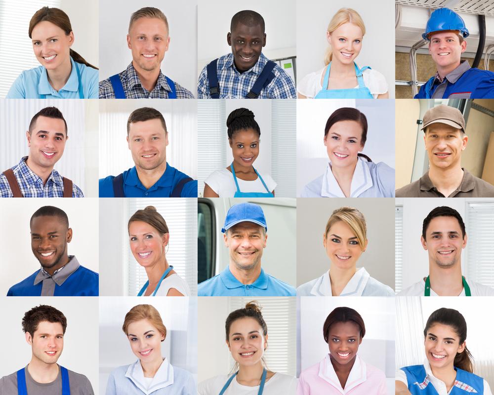 Kollage von männlichen und weiblichen Arbeitskräften mit verschiedener Ethnizität und aus unterschiedlichen Handwerksberufen