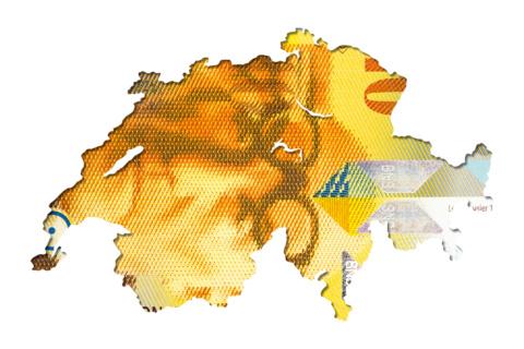 10-Franken-Note in den Umrissen der Schweiz